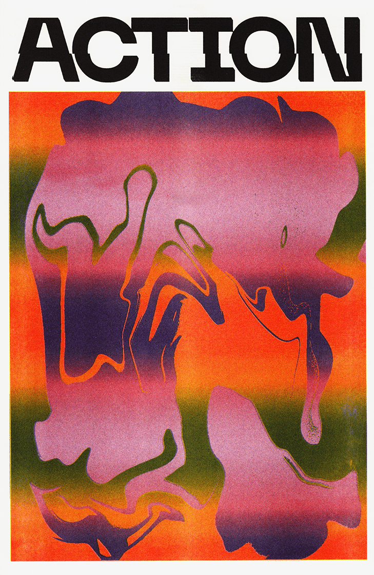 Action, a print by Gonzalo Guerrero published by Secret Riso Club.